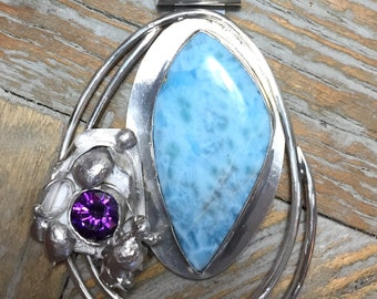 Lovely Larimar Pendant Set In Sterling Silver with Purple  Cubic Zirconia