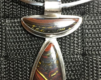 Semi-Precious Stones Of Tiger Iron Set in Sterling Silver Pendant with Sterling Choker
