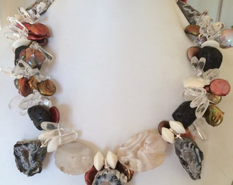 Lava,Pearls and Druzy Agate Beaded Necklace