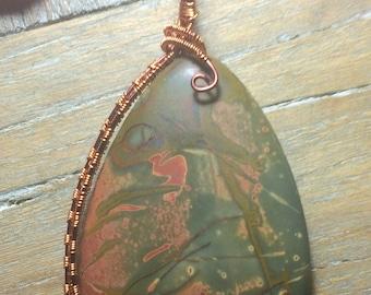 Picasso Jasper Pendant Copper Wire Wrapped