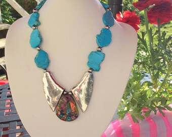 Handmade Necklace  Beaded from Natural Turquoise and Tibet Silver