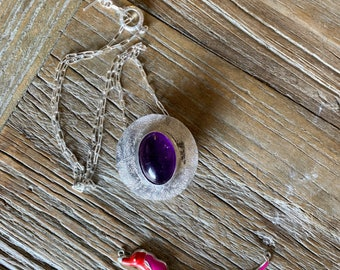 Amethyst Box Pendant Necklace in Sterling Sliver