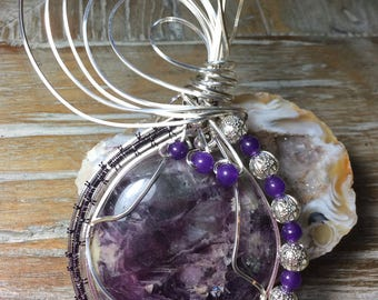 Beautiful Fluorite Wire Wrapped Pendant and Choker With Amethyst Beads