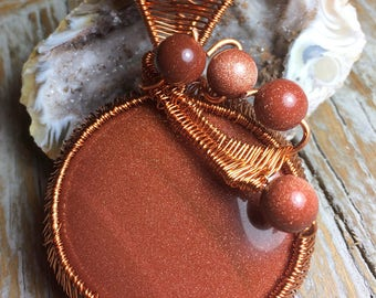 Hammered Copper Choker with Copper Wire Wrapped Goldstone Pendant