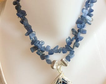 Kyanite Beaded Necklace with Wire Wrapped Pendant of Druzy Quartz