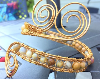 Bronze Wire Wrapped Arm Band With Mexican Crazy Lace Agate Beads