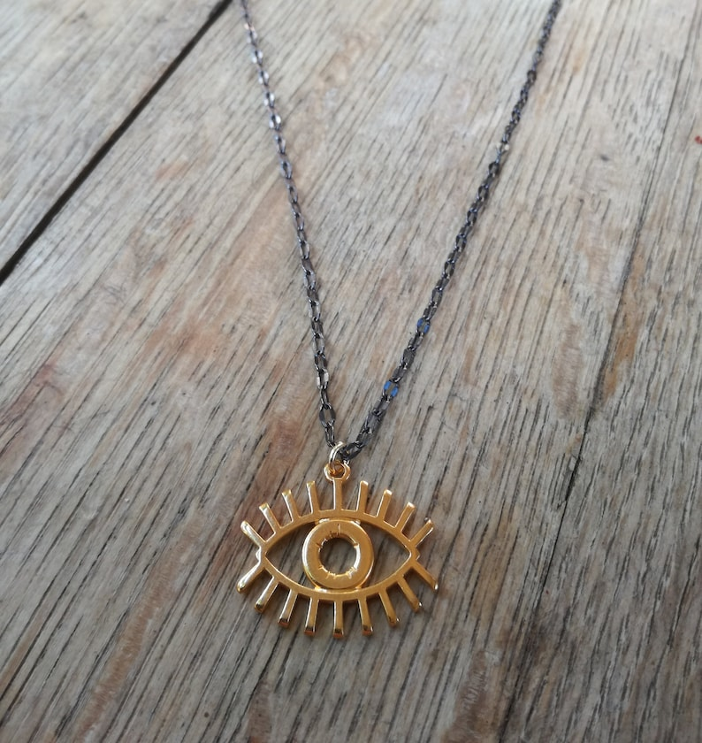 gold plated brass Evil eye pendant black platted brass chain