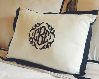 Monogram Pillow Embroidered Trimmed Monogram Throw Pillow Monogrammed Pillow  with Design Couch Pillow Bedding Pillow 1146fd53a174