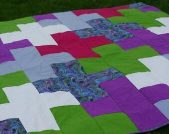Modern quilt, plus sign quilt, plus quilt, custom quilt, made to order quilt, gender neutral quilt, graphic quilt, twin size quilt