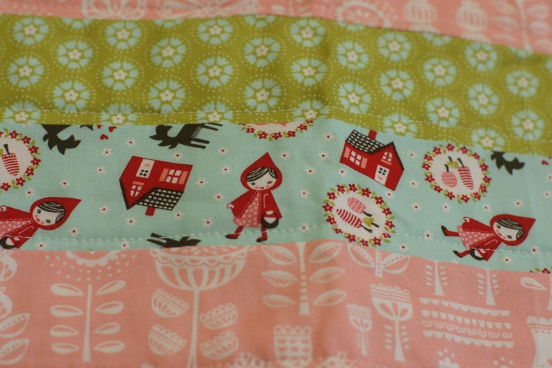 fairy tale bedding girl bedding little red riding hood twin size modern quilt strip quilt lil red fabric red and turquoise bedding