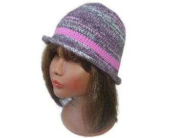Chapeau crochet,vegan,automne,hiver,chapeau melon,faitmain,chapeau chic,mode,couleur  mode,cadeau femme,,bohème,boho,rose,violine,gris, 1dbd70fb90f