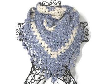 5b4698f83791 Chèche vegan, chèche crochet, châle crochet, hippie, boho, bohème, gypsy,  chèche mixte, franges, fleurs, bleu jean, écru, coton, soie, lin