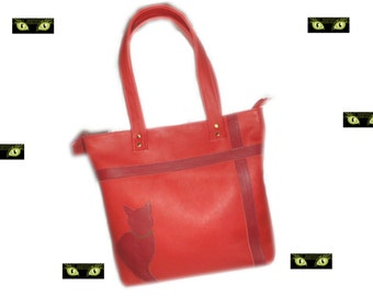 Red leather tote bag,Red cat tote bag,Gift for cats lover woman,French creator leather bag,Sherry red fashion bag,Quality red tote bag
