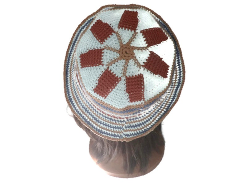 cotton hat Summer hat hat women gift hippie chic boho cloche Brown summer wayuu blue ethnic vegan Bohemian crochet faitmain beige