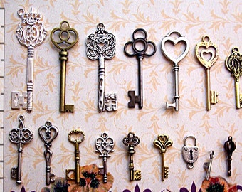 New Large Steampunk Skeleton Keys to Skill Charm Jewelry Wedding Beads Supplies Pendant Collection Reproduction Vintage Antique Look Craft