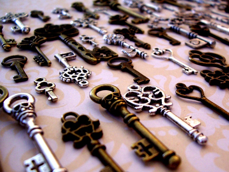 Replica Skeleton Keys to the Future Vintage Antique Charms Chest Jewelry Steampunk Wedding Bead Pendant Craft Holiday Gift Invitation Ring