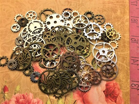 30g Antique Gold Silver Bronze Copper Charm Mix Steampunk Vintage Animals Varied
