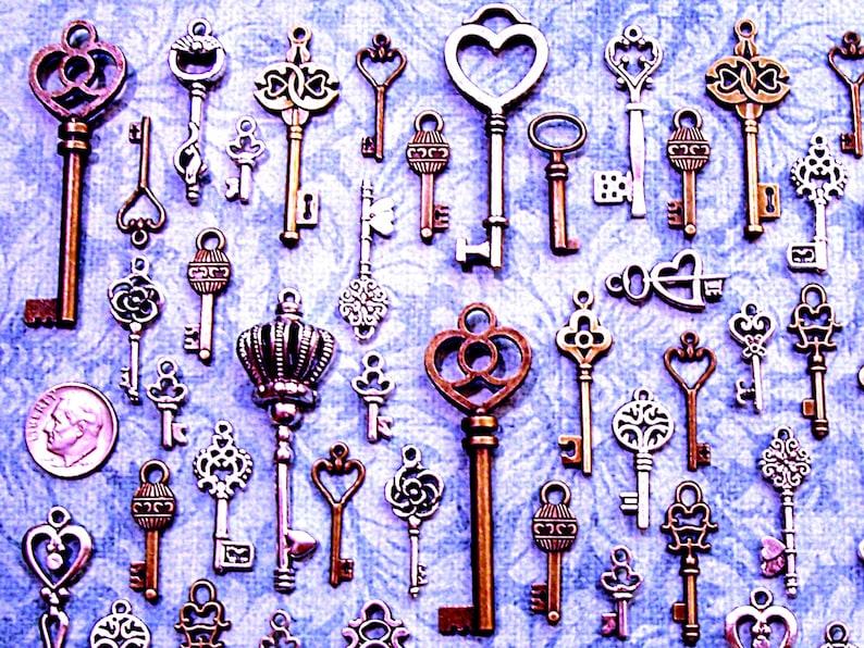 Replica Bulk Skeleton Keys of Air Vintage Antique Wholesale Charm Jewelry Steampunk Wedding Bead Supply Pendant Victorian Reproduction Craft