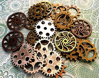 40 Steampunk Gears Cogs Buttons Watch Parts Altered Art Washer Button Sprocket Clock Parts Charms Jewelry Gothic Beads Supplies Crafts