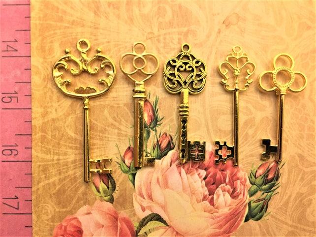 25 Gilded Gold Wedding Keys Skeleton Escort Place Cards Party Supply Wedding Invitation Wholesale Vintage Crafts Christmas Ornaments Keyring