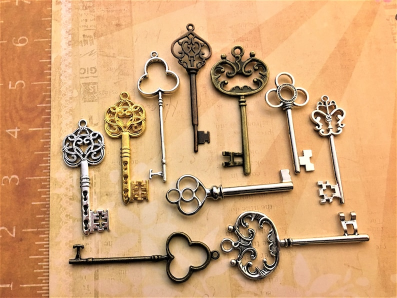 Replica Keys to Awareness Big New Skeleton Lock Vintage Jewelry Antique Key Wedding Invitation Announcement Save the Date  Crafts Steampunk