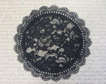 Black Floral Doily Venice Womens Kippah Bat Mitzvah Chapel Cap Headcovering Veil