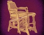 Vintage Print Barber Chair Hairdresser Hair Salon Antique in Vintage Tan Purple Vignette Paper Background No.3730 B33 8x8 8x10 11x14