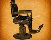 Vintage Barbers Chair Wall Art Hair Salon Print Antique Artwork with Vintage Paper Vignette Background No.2143 B3 8x8 8x10 11x14