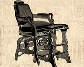 Antique Barber 39 s Chair Vintage Print Collage Sheet Hair Salon Wall Art Print with Vintage Script Paper Background No.3730 B4 8x8 8x10 11x14