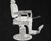 Barbers Chair Art Vintage Wall Art Print Antique Artwork Offwhite Paper Foreground with Charcoal Black Background No.2143 B41 8x8 8x10 11x14