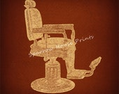 Antique Barbers Chair Vintage Artwork Print Wall Art with Vintage Rust Brown Paper Background No.2143 B23 8x8 8x10 11x14