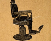 Barbers Chair Print Antique Artwork Hair Salon Wall Art Vintage Print with Antique Paper Style Background No.2143 B2 8x8 8x10 11x14