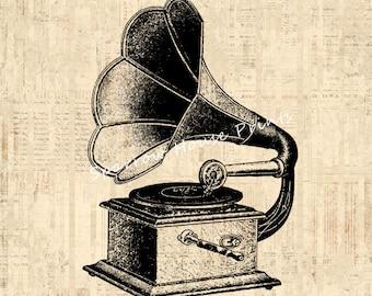 Vintage Art Phonograph Artwork Music Home Decor Antique Phonograph Print with Vintage Script Paper Background No.1536 B4 8x8 8x10 11x14