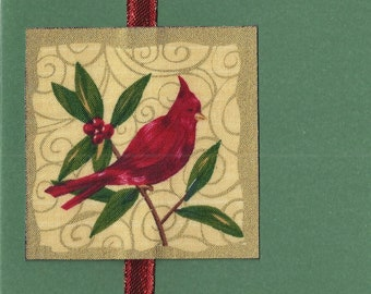 Red cardinal with berries Christmas Card