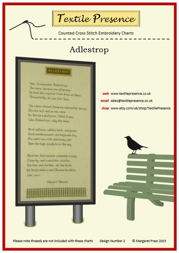 Adlestrop Célèbre Poème Edward Thomas En Point De Croix Avec Une Illustration De Lenseigne Originale De Chemin De Fer