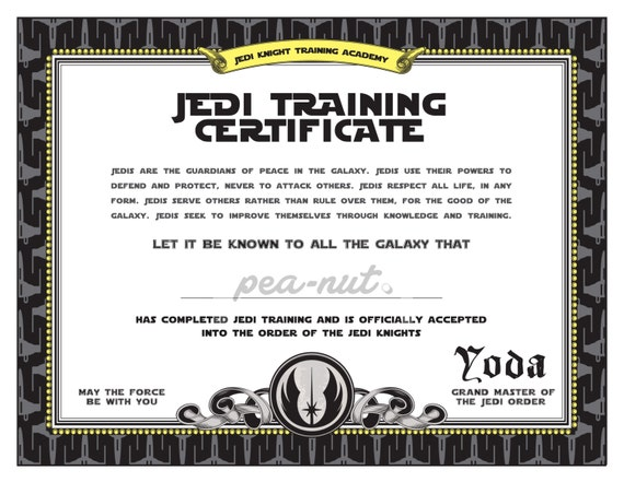 Star Wars Birthday Jedi Training Certificate printable | Etsy