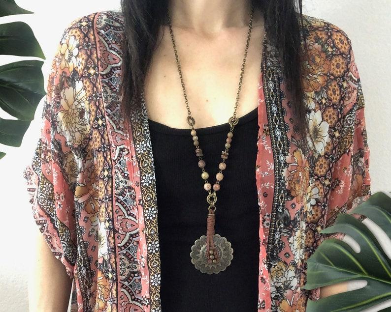 Boho  Concho Style Pendant Long Necklace  Concho pendant image 0