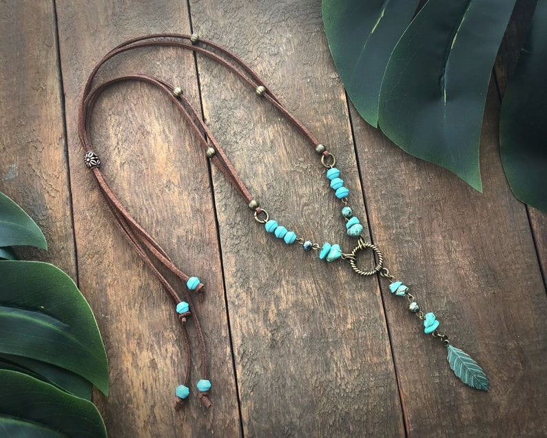 Boho Style Green Metal Leaf Charm Necklace  faux suede cord image 0