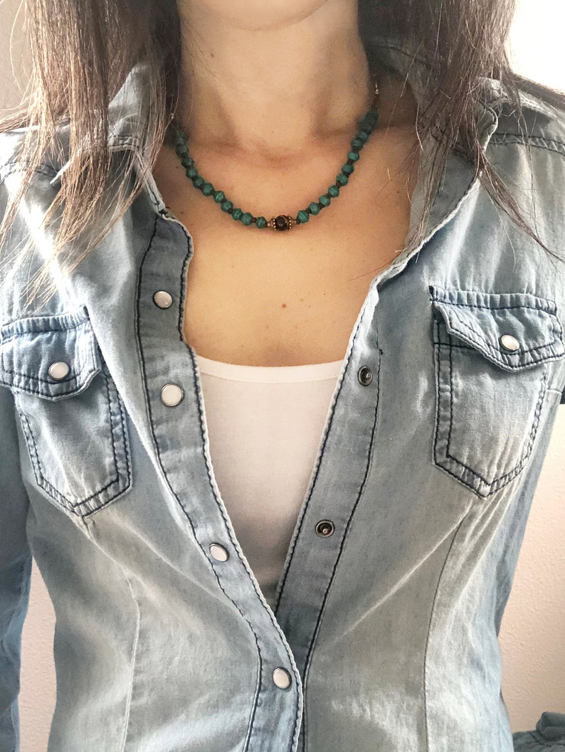 Boho style simple minimalist necklace/choker  Dark Turquoise image 0