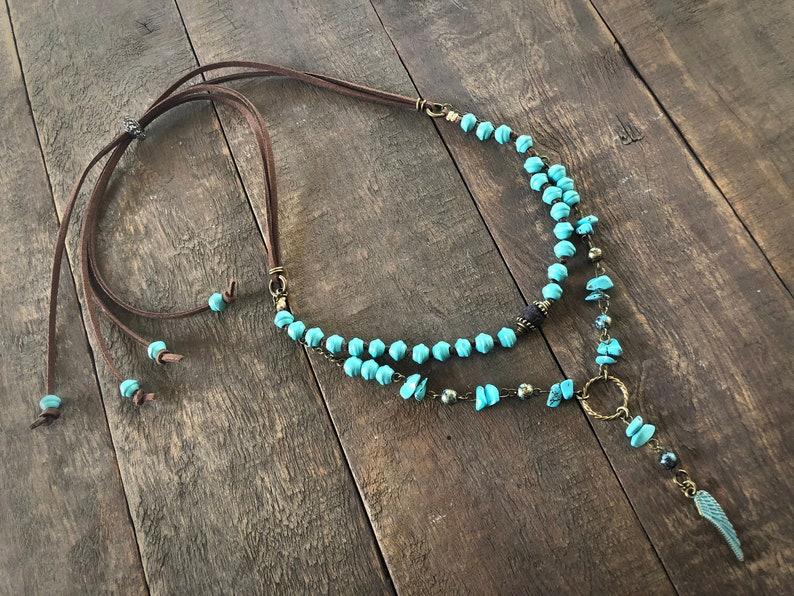 Boho style layered necklace  Turquoise color wood beads dyed image 0