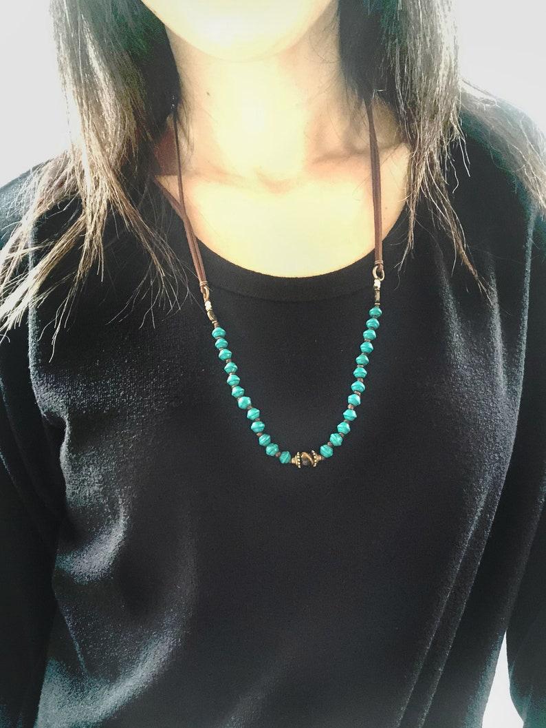 Boho style simple minimalist necklace/choker  Dark Turquoise image 0