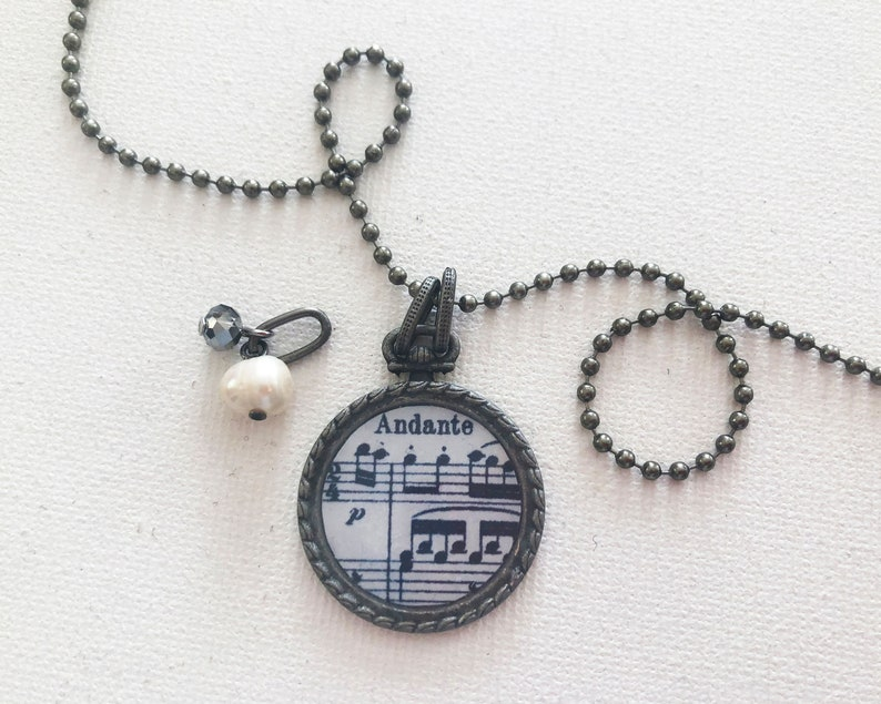 Music Score Resin Pendant Necklace featuring Mozart's image 0