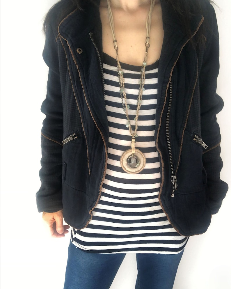 Boho Style Hemp Ring Pendant Long Necklace  braided hemp image 0