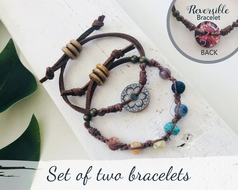 Set of Two Adjustable Slider Boho Bracelets Chakura inspired image 0