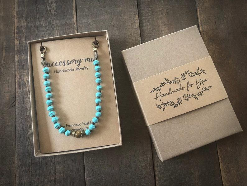 Boho style simple minimalist necklace/choker  Turquoise color image 0