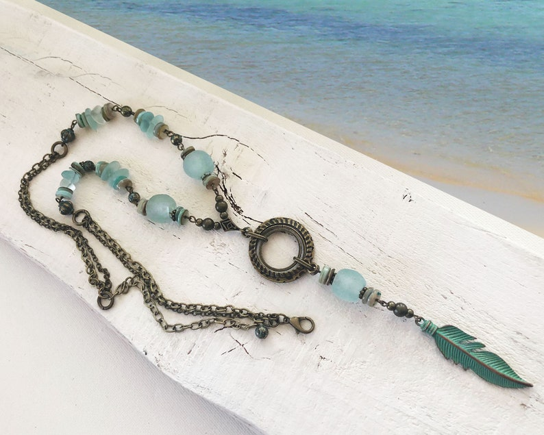 Sea Glass Beads with a green metal feather dangle necklace  image 0