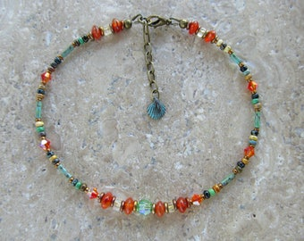 Carnelian and Citrine Gemstone with Swarovski Crystals and Seed Beads Extension Anklet