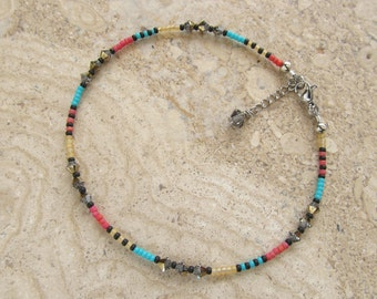 Bright Multi Colour Seed Bead with Swarovski Crystals Extension Anklet