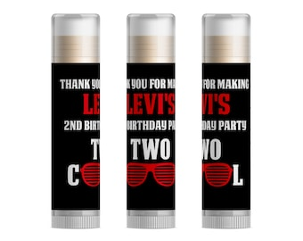 Two Cool Birthday Party Favors 2nd Second Sunglasses Summer Personalized Lip Balm 15pc