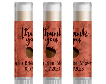 acorn wedding shower favor ideas cute bridal shower ideas fall bridal shower ideas autumn personalized lip balm favors 15pc